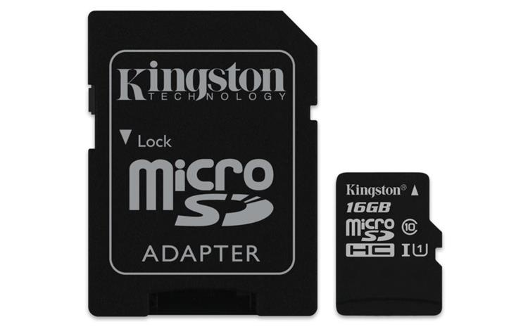 SDCARD Kingston Canvas Select MicroSD 16GB + adapter