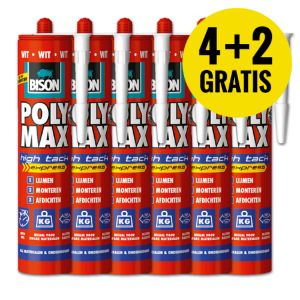 SUPER DEAL - 6 X BISON POLYMAX HIGH TACK WIT 425 GR. (4+2 GRATIS)