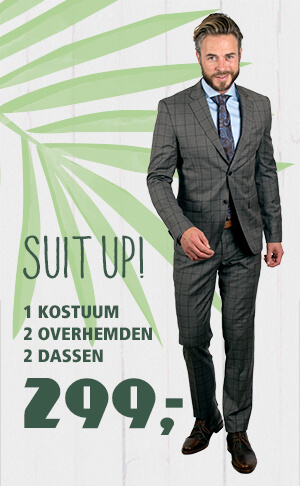 Suit up! 1 kostuum + 2 overhemden + 2 dassen = 299,-