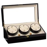 Watchwinder 6+8 horloges hoogglans dark ebony