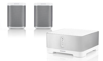 Sonos aanbieding set Connect Amp & 2x play 1 wit