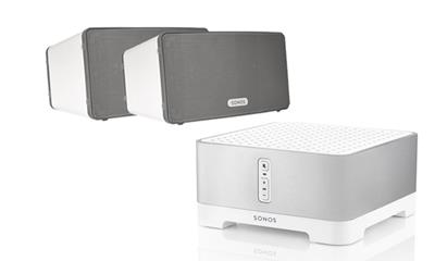 Sonos aanbieding set Connect Amp & 2x play 3 wit