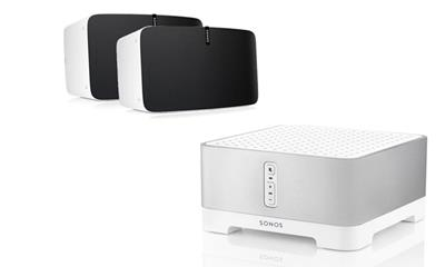 Sonos aanbieding set Connect Amp & 2x play 5 wit