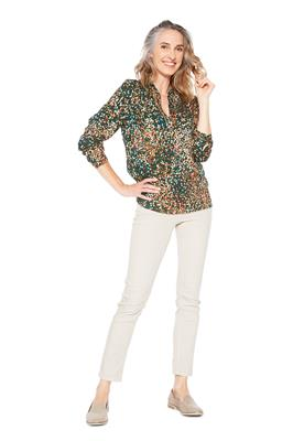 Blouse V-Hals Leaves Groen