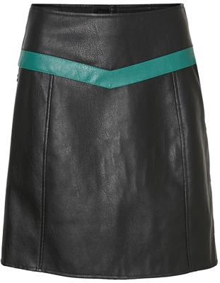 Vmcontrast connery hw faux leather skirt Black/Aphine green