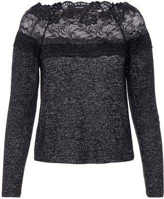 Vmcima lace ls blouse - Dark grey melange/w. Black lace