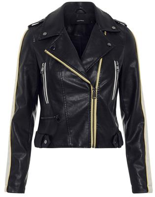 Vmina short faux leather jacket Black/yarrow w