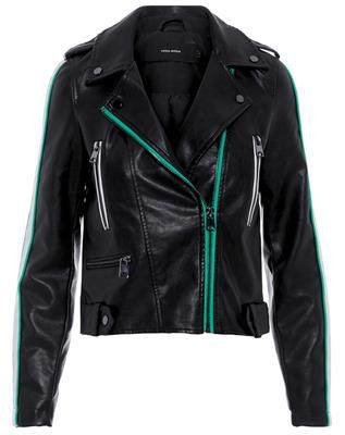 Vmina short faux leather jacket Black/holly green