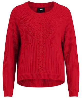 Objmarygold l/s knit pullover Fiery Red