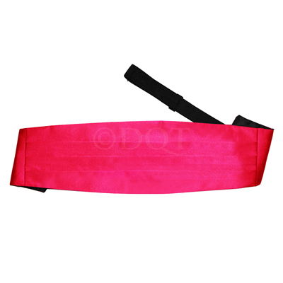 Uni satijnen cumber band hot pink