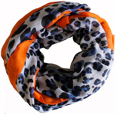 B-fashion sjaal Big en small leo oranje/blauw
