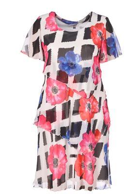 7e87d3d32e7 plastic doppen sparen Georgedé jurk A11968 Multicolor