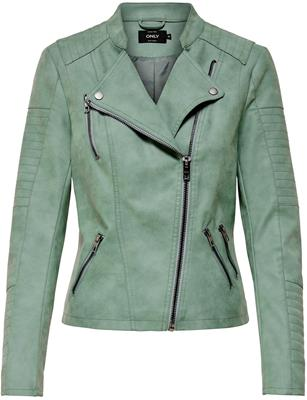 Onlava faux leather biker Chinois green
