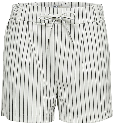 Onlpoptrash rush stripe shorts Cloud Dancer/Black