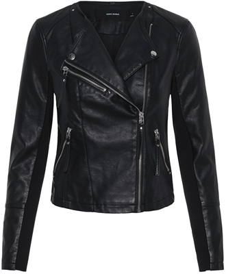 Vmria fav short faux leather jacket black