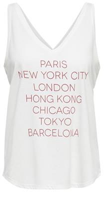 Jdycity icon strap print top Cloud dancer/cities