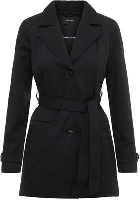 Vmeva abby 3/4 trenchcoat black