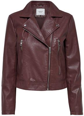Jdyilde short faux leather jacket Pomegranate