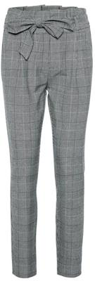 Vmeva hr loose paperbag check pant Grey/white