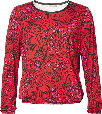 Geisha T-shirt round neck LS AOP Red/fuchsia/black