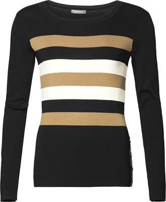 Geisha Pullover round neck with stripes Black/camel/offwhite