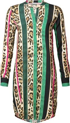 Geisha Dress stripe and leopard print Green/pink combi