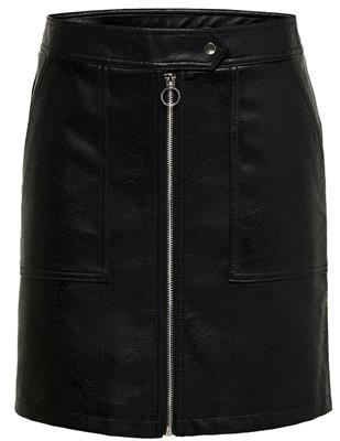 onlabigail faux leather skirt black
