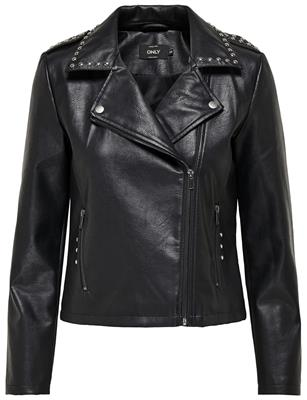 ONLVALENCIA FAUX LEATHER STUD BIKER OTW BLACK