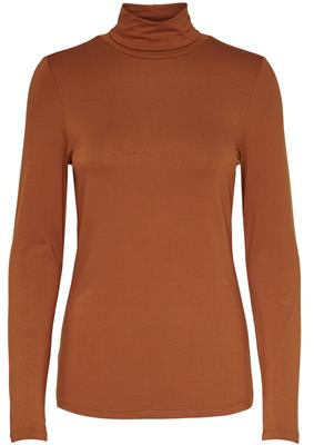 Onlbea l/s highneck top jrs Leather brown