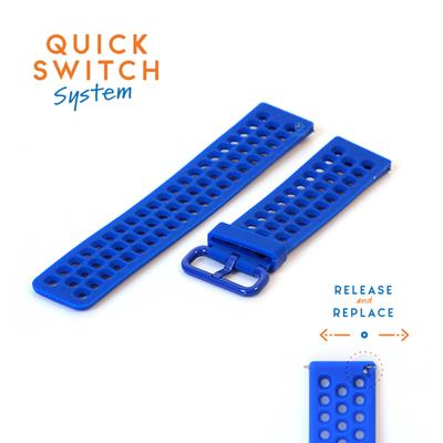 Horlogeband 23mm perforated siliconen royalblauw