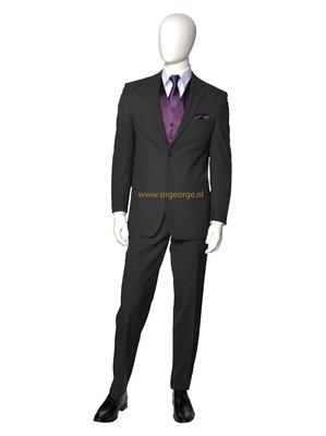 6 delig antraciet grijs kostuum plastron purple - Grijs gekleurd ...