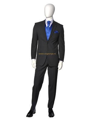 5 delig antraciet grijs kostuum stropdas royal blue - Grijs gekleurd ...