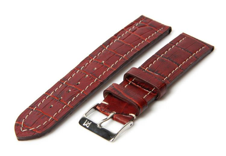 Horlogeband 20mm bordeaux croco