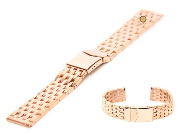 Horlogeband 22mm staal rose - goud
