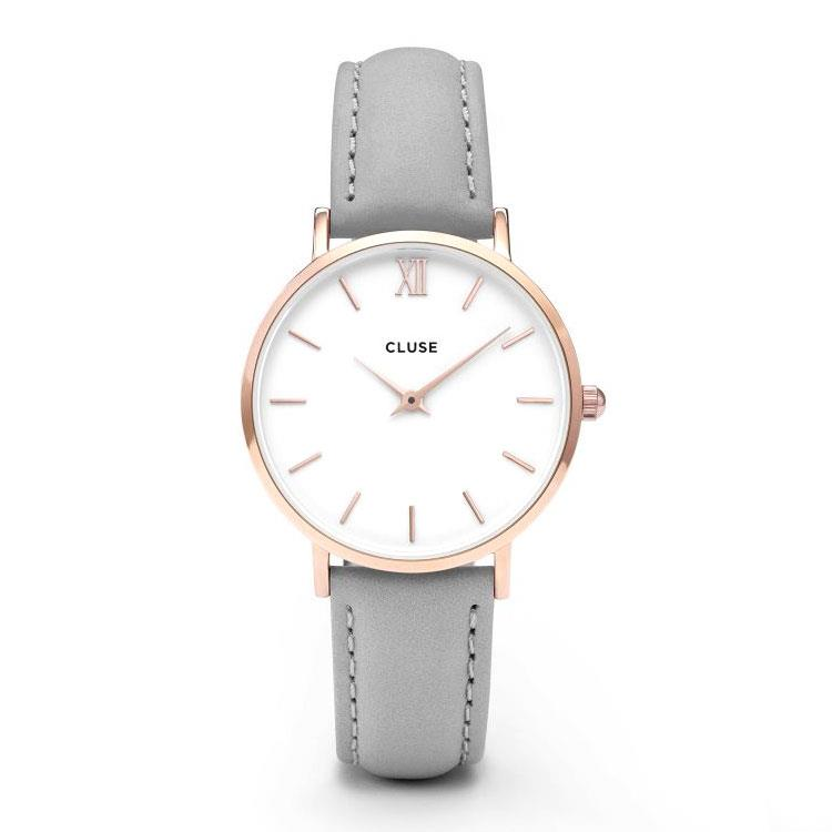 Cluse CL30002 Minuit Rose Gold White/Grey horloge