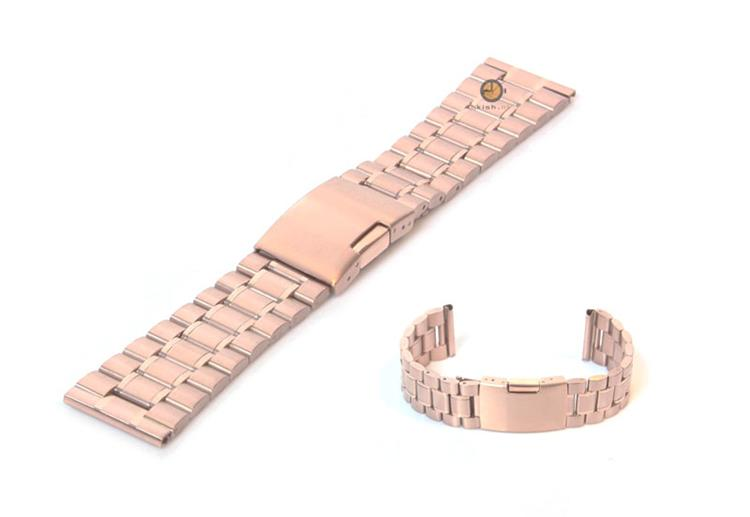 Horlogeband 24mm staal rose goud