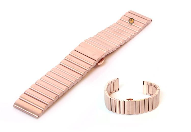 Horlogeband 22mm staal rose goud