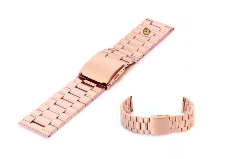Horlogeband 23mm staal rose goud