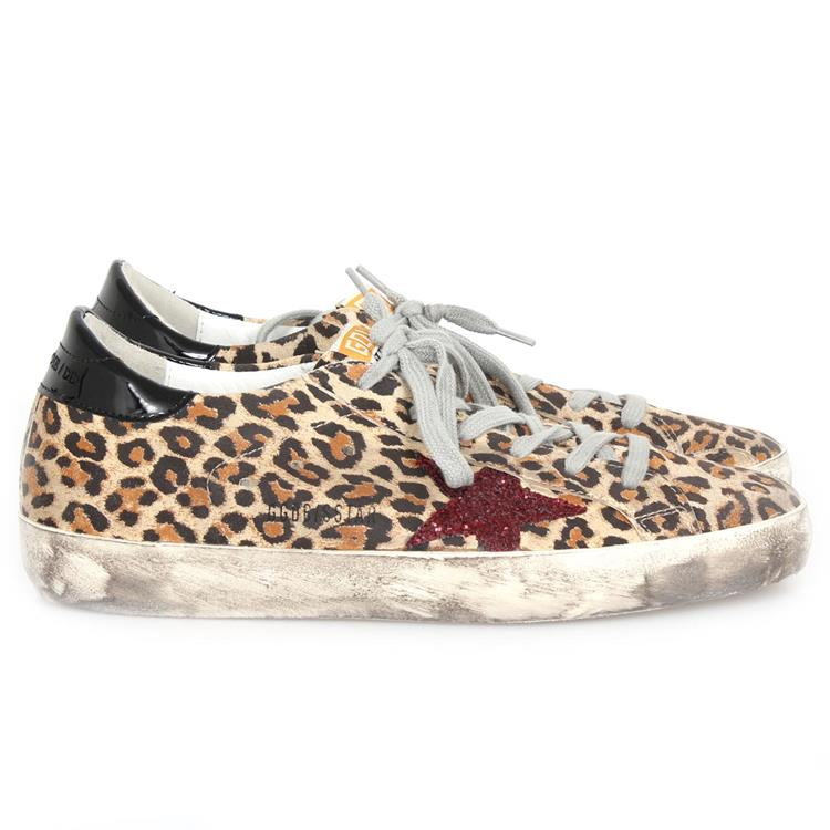 Golden Goose sneaker superstar leopard suede red glitter star