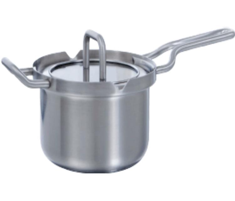 BK Q-linair Master Steelpan met deksel zilver - 16 cm