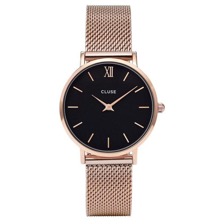 Cluse CL30016 Minuit Mesh Rose Gold/Black horloge