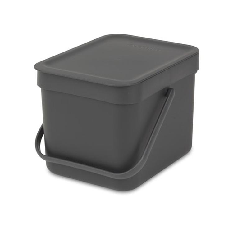Brabantia Sort & Go afvalemmer 6 liter - grijs