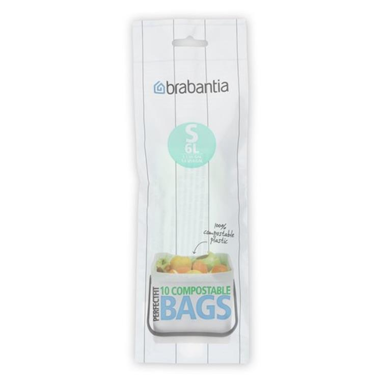 Brabantia Perfect Fit Compostable Afvalzakken - 6 l - Code S - 10 stuks