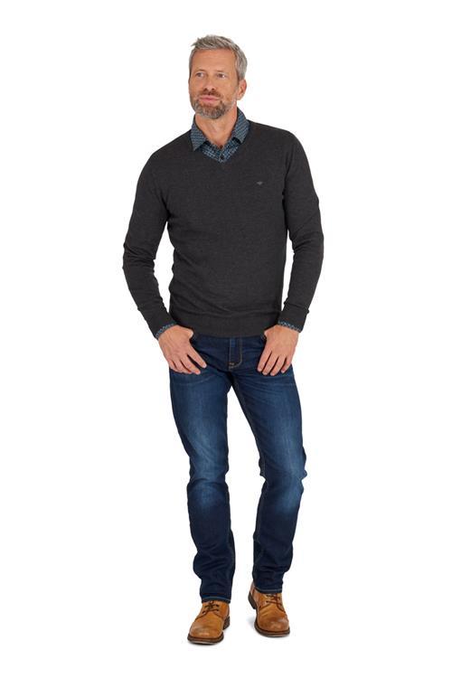 tom tailor casual pullover v hals donkergrijs miller monroe. Black Bedroom Furniture Sets. Home Design Ideas