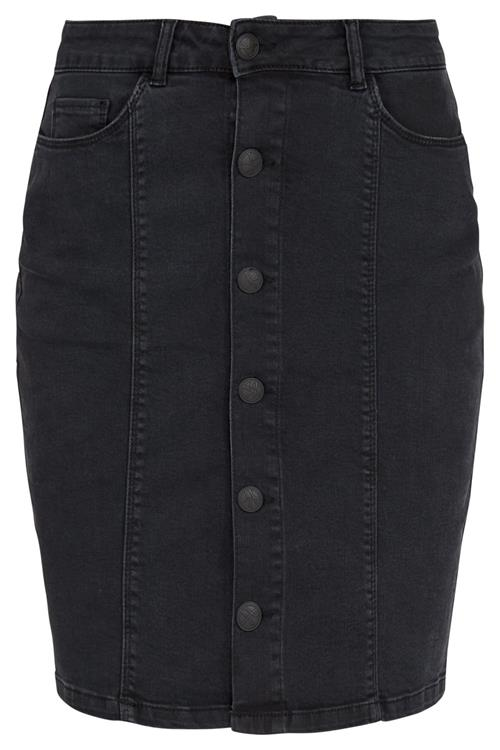Rok Denim Buttons Zwart