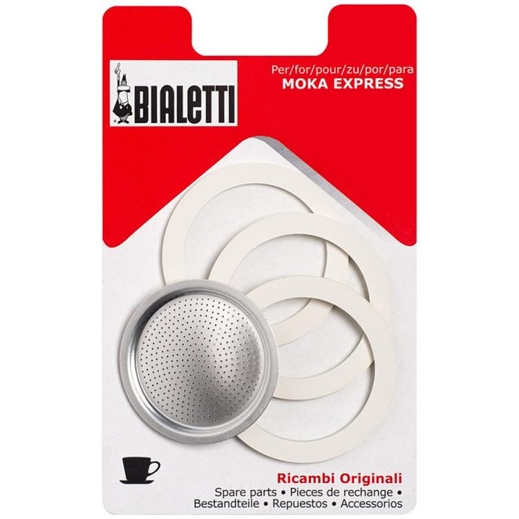 Bialetti filterplaatje + 3 ringen 2 kops