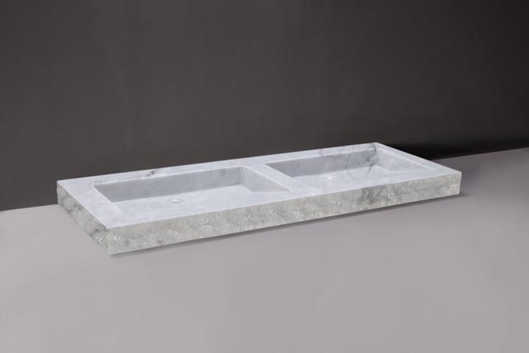 Wastafel 140 Cm : Forzalaqua wastafel palermo 140 x 51 cm carrara marmer gepolijst gekapt