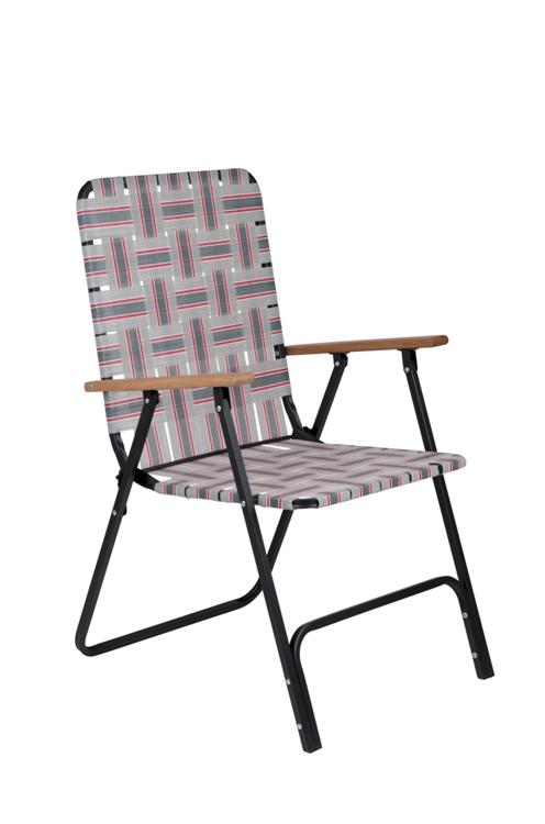 Bo-Camp - Urban Outdoor - Lawn stoel - Preston - Grijs/Rood