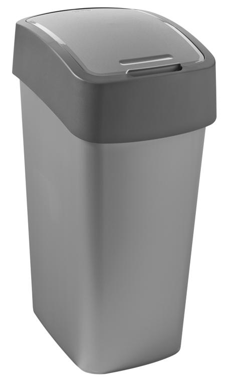 Curver - Afvalbak - Flip Bin - 50 Liter - Zilver