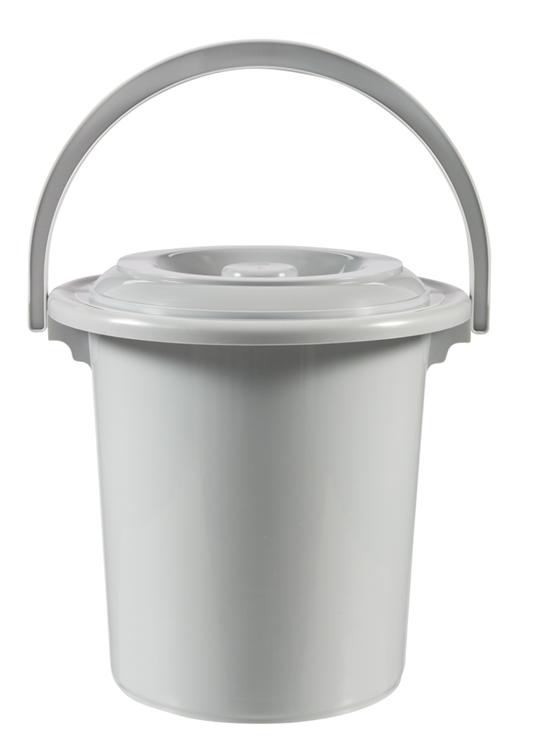 Curver - Toiletemmer met deksel - 10 Liter - Ø 31 cm - Lichtgrijs